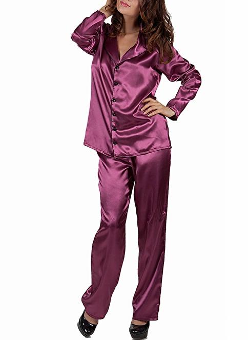 Miorre Saten Pijama Takım Mor